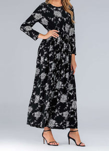 Black Altie Plus Size Floral Long Dress