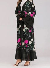 Load image into Gallery viewer, Black Basan Kimono Style Open Abaya