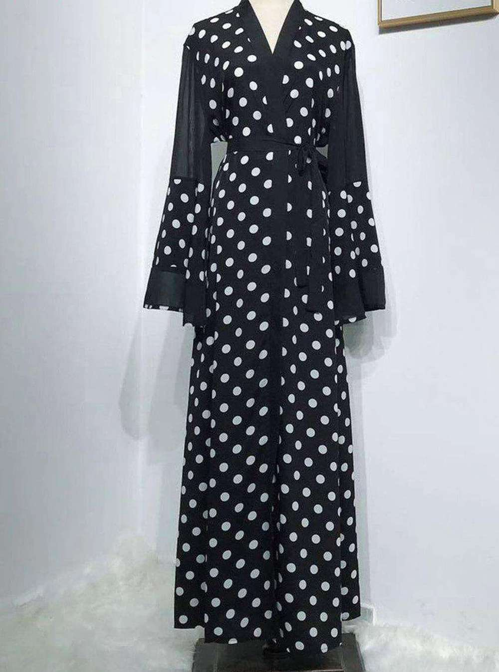 Black Bita Polka Dot Open Abaya
