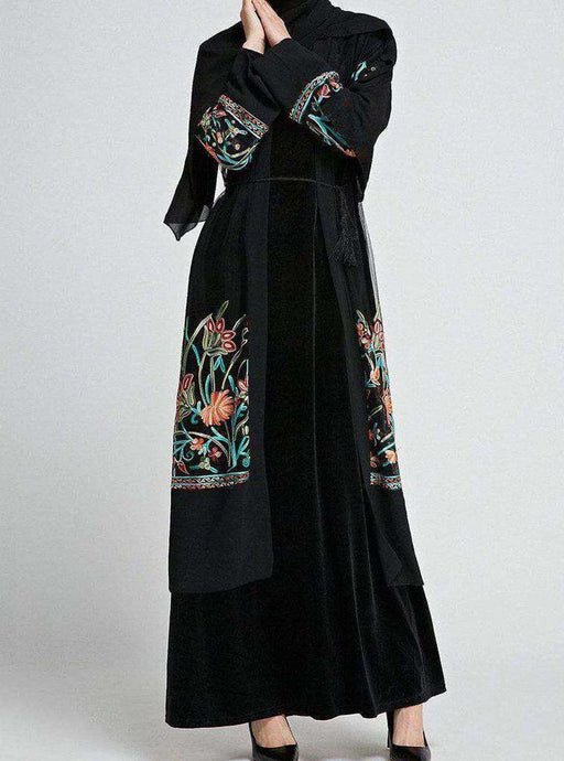 Black Dirran Floral Embroidered Open Abaya