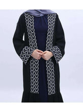 Load image into Gallery viewer, Black Feryal Open Abaya