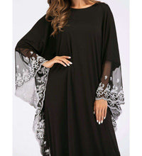 Load image into Gallery viewer, Black Habiba Embroidered Long Dress-ELEVE