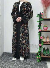 Load image into Gallery viewer, Black Jehaan Floral Open Abaya