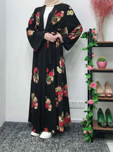Load image into Gallery viewer, Black Kenwei Floral Open Abaya