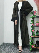 Load image into Gallery viewer, Black Malda Striped Open Abaya