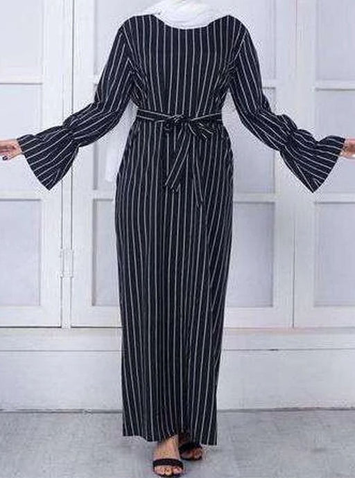 Black Saher Striped Long Dress