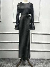 Load image into Gallery viewer, Black Saher Striped Long Dress