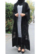 Load image into Gallery viewer, Black Taalea Kimino Style Open Abaya