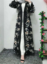 Load image into Gallery viewer, Black Taruh Floral Open Abaya