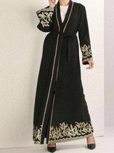 Load image into Gallery viewer, Black Yuvleen Open Abaya