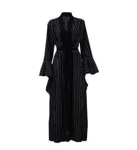 Striped Manab Open Abaya-ELEVE