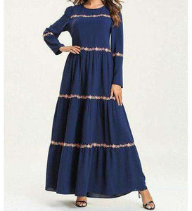 Navy Blue Layaan Floral Embroidered Long Dress-ELEVE