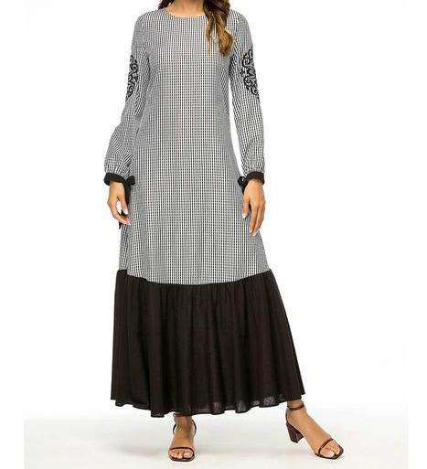 Grey Iraj Embroidered Long Dress-ELEVE