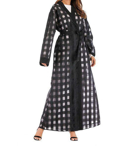 Black Esmeray Plaid Open Abaya-ELEVE