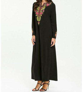Black Farha Floral Embroidered Long Dress-ELEVE