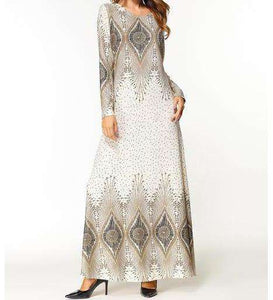 White Allysa Geometric Print Long Dress-ELEVE