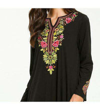 Load image into Gallery viewer, Black Farha Floral Embroidered Long Dress-ELEVE