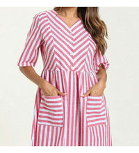 Load image into Gallery viewer, Pink Haeda Striped Plus Size Long Dress-ELEVE