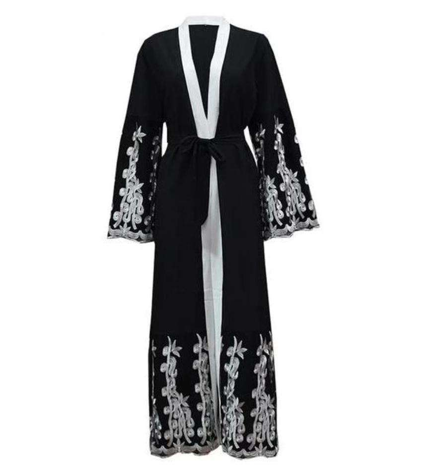 Black Marita Embroidered Open Abaya - Élevé Clothing