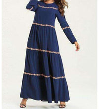 Load image into Gallery viewer, Navy Blue Layaan Floral Embroidered Long Dress-ELEVE