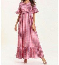 Load image into Gallery viewer, Red Jadee Chequered Long Dress-ELEVE