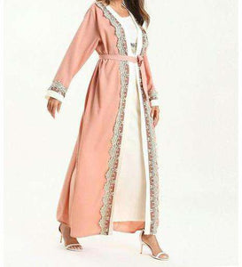 Pink Tamin Open Abaya-ELEVE