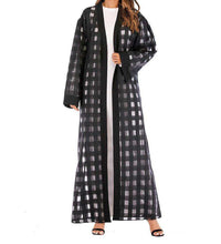 Load image into Gallery viewer, Black Esmeray Plaid Open Abaya-ELEVE