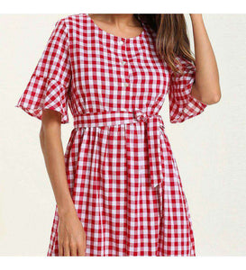Red Jadee Chequered Long Dress-ELEVE