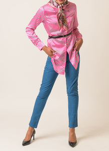 Sophie Silk Stripes Button Up Shirt