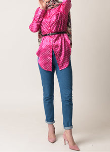 Anya Silk Polka Dot Button Up Shirt