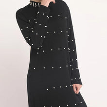 Load image into Gallery viewer, Black Melanie Knitted with Pearl Detail Abaya