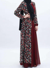 Load image into Gallery viewer, Nabila Burgundy Floral Open Abaya