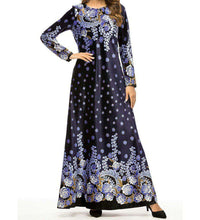 Load image into Gallery viewer, Navy Blue Daizy Velvet Floral Dress-ELEVE
