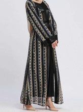 Load image into Gallery viewer, Navy Blue Maysam Geometric Print Open Abaya