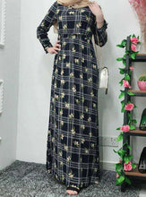 Load image into Gallery viewer, Navy Blue Tahera Floral Abaya