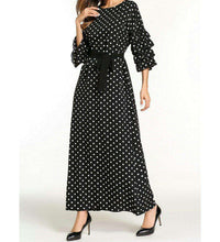 Load image into Gallery viewer, Black Uswah Polka Dot Long Dress-ELEVE