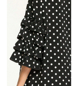Black Uswah Polka Dot Long Dress-ELEVE