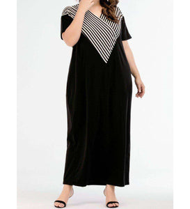 Black Maeen Plus Size Long Dress-ELEVE