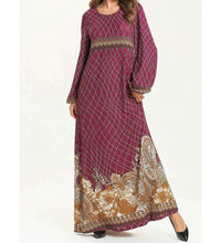 Load image into Gallery viewer, Magenta Tamna Vintage Long Dress-ELEVE