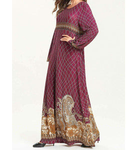Magenta Tamna Vintage Long Dress-ELEVE
