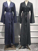 Load image into Gallery viewer, Sanfa Striped Kimono Style Open Abaya