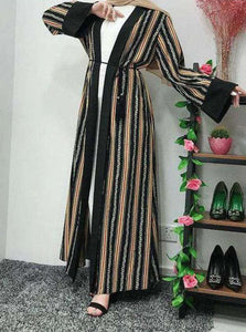 Striped Leasha Open Abaya
