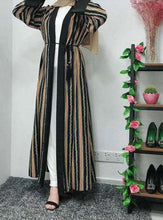 Load image into Gallery viewer, Striped Leasha Open Abaya