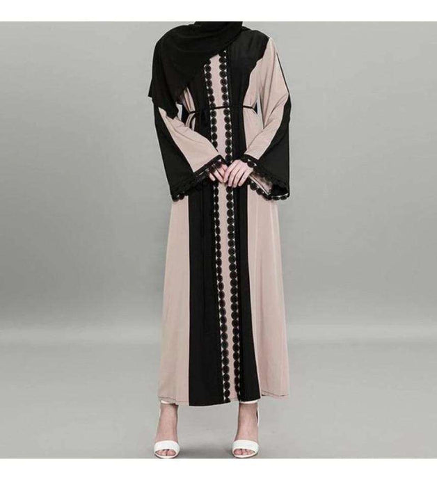 Tan Hamia Lace Abaya - Élevé Clothing