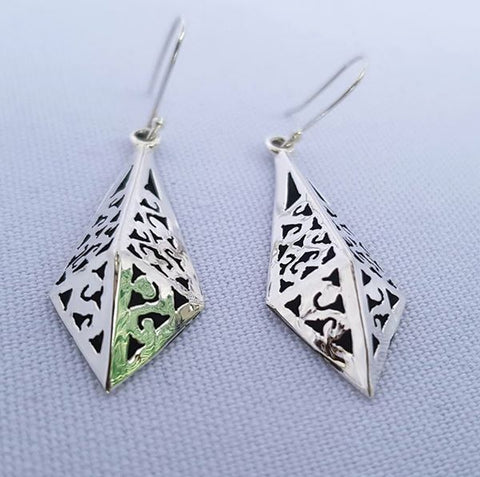 Diamond Shaped Drop Earrings Sterling Silver