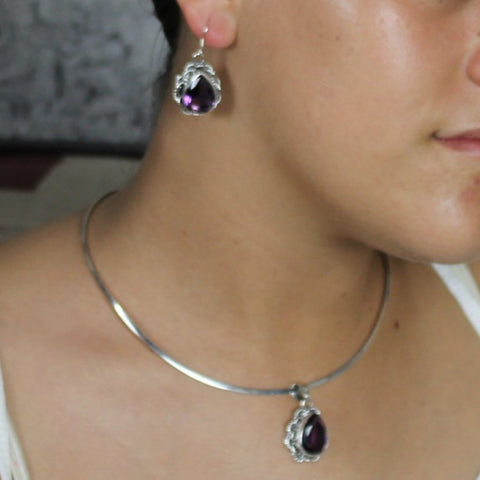 Sterling Silver Amethyst Crystal Gem Earring and Pendent Set (.925)