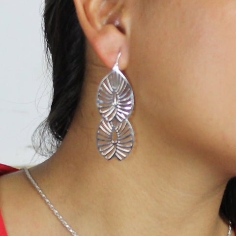 Hanging Leaves Sterling Silver Earrings