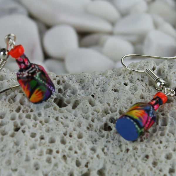 Colorful Bottle Earrings Handcrafted Wooden