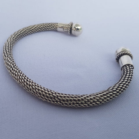 Sterling Silver Rope Cuff Hand-crafted (925)