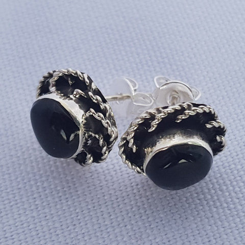Obsidian on Sterling Silver 925 Stud Earrings